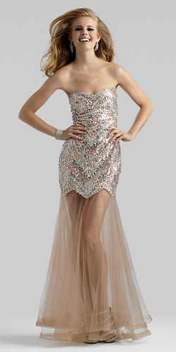 A Short Long Prom Dresses with Overlay