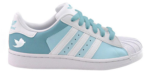 Adidas Superstars designed with the Facebook and Twitter themes