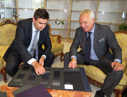 Dean manev and Gianfranco Fiori looking at Marlane fabrics