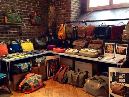 Hand crafted English bags by John Chapman at Pitti Immagine Uomo 86